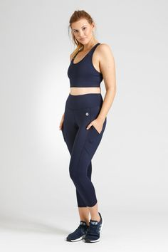 Smart Pocket 7/8 Length Tight - Navy – Active Truth™ Perfect Fit, Activewear, Tights, Pockets, Crop Tops, Navy, Fabric, Model, How To Wear