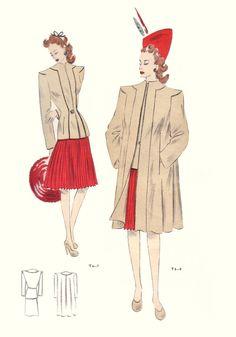 1946 Tailleur Trade Fashion Plates Fashion Design