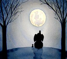 Under The Moonlight  16x20 inch  Signed Art Print  by paintedbliss, $45.00