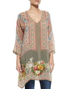 Fiscar Printed Georgette Tunic, Women\'s by Johnny Was Collection at Neiman Marcus.