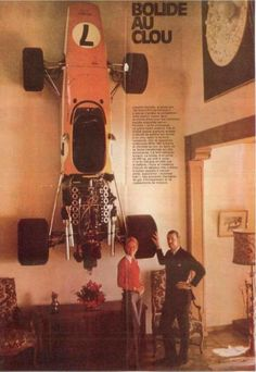 Jo Bonnier and his wife, Marianne Ankarcrona Bonnier, with his McLaren M5A (as art on the wall), at their home in Le Muids, Switzerland, 1970.