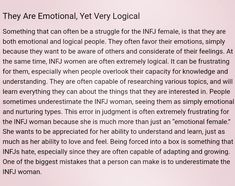 The INFJ Female: Emotional, Yet Very Logical. One of the biggest mistakes a person can make is to underestimate the infj female. Intj And Infj, Infj Mbti, Infj Type, Isfj, Introvert, Myers Briggs Infj, Myers Briggs Personality Types, Infj Personality, Myer Briggs