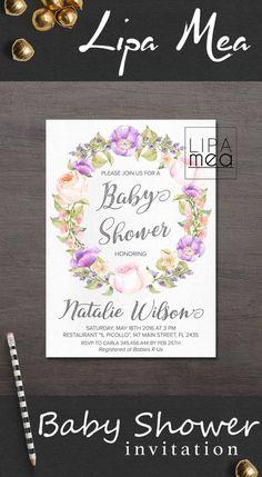 Floral Baby Shower Invitation Printable, Boho Baby Shower Invitation, Girl Baby Shower Invitation, Lilac Bohemian Baby Shower Invite Purple. lipamea.etsy.com
