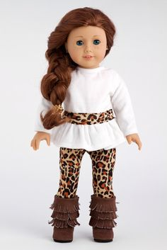 Fashion Safari - 3 piece outfit - Ivory velvet tunic, cheetah leggings and fringed boots - 18 Inch Doll Clothes (doll not included): DreamWorld Collections - 18 Inch American Girl Doll Clothes American Girl Outfits, Ropa American Girl, My American Girl Doll, American Girl Crafts, American Doll Clothes, Ag Doll Clothes, Dress Clothes, Beanie Babies, Mode Safari