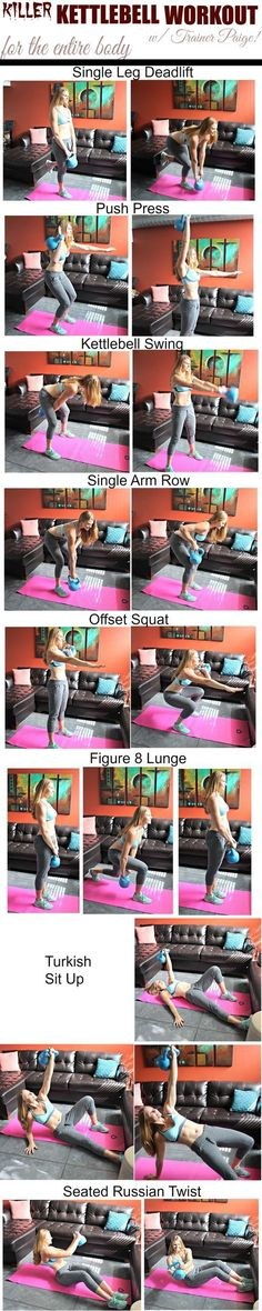Killer Kettlebell Workout for the Total Body. Pin now, check later.