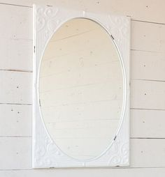 This Embossed White Metal Mirror offers just the right amount of chippy paint goodness. It is ideal for any farmhouse, shabby or cottage chic home. Employ it in Farmhouse Mirrors, Antique Farmhouse, Farmhouse Chic, Farmhouse Design, Rustic Bathroom Decor, Bathroom Interior, Bathroom Ideas, Metal Mirror, Round Wall Mirror