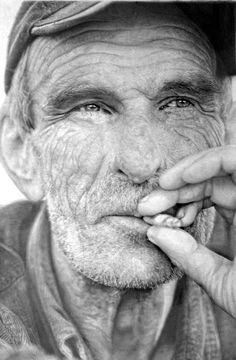 """Nva 6"" in ? by Paul Cadden (Glasgow 1964). Pencil on paper (28x18cm). Plus One Gallery, London. In his own words, his creations ""intensify the normal"". ""Paul Cadden maintains that hyper-realism is about more than representing reality in a new medium. It is, instead, about creating the illusion of a new reality - one that merges a believable, life-like appearance with emotional, social, cultural, and political themes."" by Plus One Gallery"