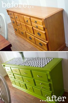 This green is amazing. She also switched the drawers around.