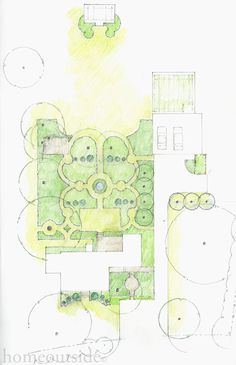 """""""French Parterre"""" landscape concept reflects her profound love of French gardens. - My creative garden decor list Online Landscape Design, Landscape Design Plans, Landscape Concept, Landscaping Design, Plan Sketch, Backyard Plan, Garden Online, Planting Plan, Landscape Drawings"""