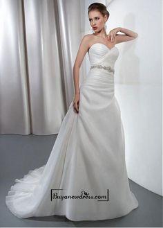 Amazing Organza Satin & Satin A-line Sweetheart Neckline Raised Waistline Wedding Dress With Beaded Lace Appliques