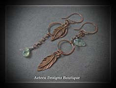 Asymmetrical Copper Feather and Prehnite Gemstone Artisan Earrings by AztecaDesignsBoutique, $45.00 USD