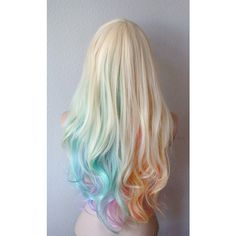 Blonde Pastel rainbow color ombre wig. Pastel color Long hair wig. ($120) ❤ liked on Polyvore featuring beauty products, haircare and hair