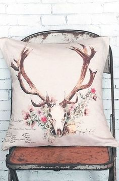 Pillow Cover Floral Deer Antlers