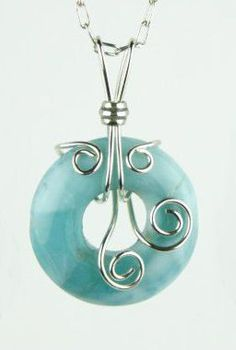 Sterling pendant sky blue Caribbean larimar wire wrapped necklace
