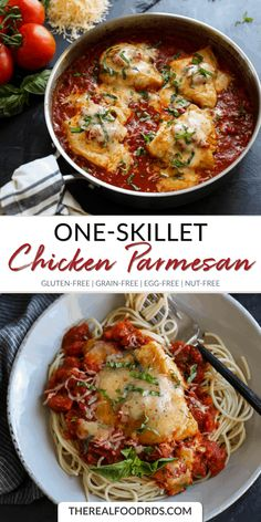 One skill parmesan chicken gluten free recipe single dish recipe parmesan chicken without grain eggless dinner noodle dinner recipe healthy comfort food easy dinner recipe Chicken Parmesan Gluten Free, Skillet Chicken Parmesan, Easy Chicken Recipes, Healthy Dinner Recipes, Real Food Recipes, Drink Recipes, Buffalo Chicken, Crockpot, Grain Free