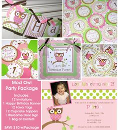 Girl Mod Owl Birthday Party Package Includes by ThePartyPaperFairy, $68.00