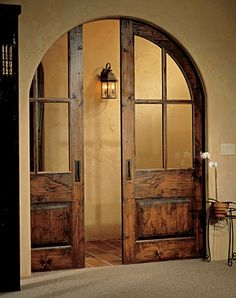 Pocket doors, so nice to tuck the doors away like they aren't there. Much more inviting than showing the doors and the option of closing off the room. House Design, Home, Pocket Doors, Remodel, House Styles, Home Doors, House Interior, Beautiful Doors, Barn Door