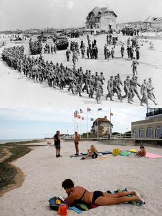 D-Day photos from 1944 and photos of vacationers at the exact same locations today -- Normandy Then Now 01