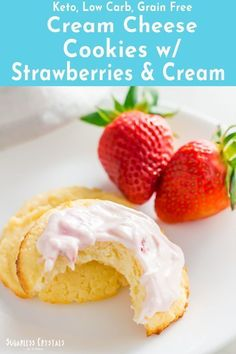Cream cheese cookies with a strawberries and cream icing. Made with coconut flour these cookies are low carb and keto friendly. Keto cookies fit for the family! Sugarless Cookies, Keto Cookies, Chip Cookies, Brownie Cookies, Coconut Flour Cookies, Cream Cheese Cookies, Almond Flour, Mini Cheesecake Recipes, Keto Cheesecake