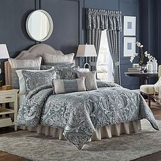 Dress your bed in elegance with the glamorous yet refined Croscill Gabrijel Comforter Set. The exquisite bedding is beautifully embellished with woven damask in luxurious chenille yarns in shades of blue and silver.