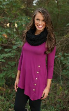 The Pink Lily Boutique - Plum Side Button Tunic, $32.50 (http://www.thepinklilyboutique.com/plum-side-button-tunic/)