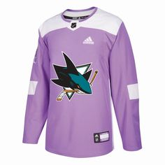 San Jose Sharks adidas Hockey Fights Cancer Practice Jersey - Purple. adidas  Men s San Jose Sharks Authentic ... 39d224108