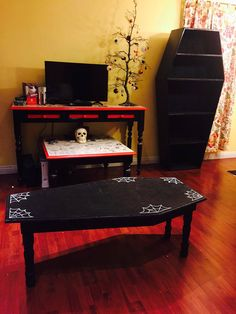 Coffin Coffee Table W Three Drawers For The Home Pinterest - Casket coffee table