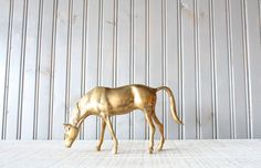 Large Brass Horse // Solid Brass by genrestoration on Etsy, $62.00