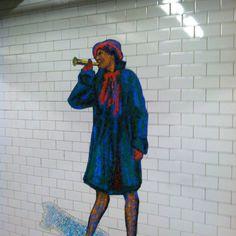 Cool tile art of a female musician