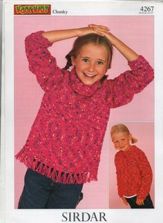 24721eef4d271e SIRDAR chunky tassled poloneck and round neck sweaters knitting pattern  Crochet For Beginners
