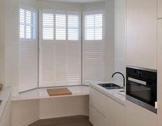 Shutters in een erker? | Kies Van Eyck shutters Kitchen Cabinets, Home Decor, Decoration Home, Room Decor, Cabinets, Home Interior Design, Dressers, Home Decoration, Kitchen Cupboards
