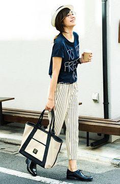 大人っぽくておしゃれ!ストライプパンツでつくる夏コーデ - NAVER まとめ Japan Fashion, Work Fashion, Daily Fashion, Fashion Beauty, Fall Outfits, Summer Outfits, Fashion Outfits, Womens Fashion, Street Chic