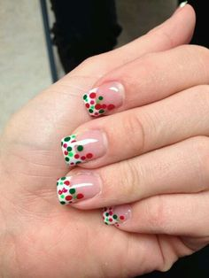 Cute Christmas nail idea but could always use other colors as well