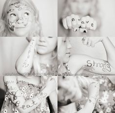 Take a picture for Sophia | pictures taken of this little girl with messages for another little girl battling leukemia. Beautiful. @Jennifer Cain I LOVE THIS IDEA