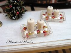 Miniature Dollhouse Christmas Ornaments With Candles by Minicler