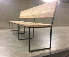 eetbank staal - Google zoeken Dining Bench With Back, Wood Dining Bench, Patio Bench, Dining Room Table, Dining Area, Steel Furniture, Custom Furniture, Furniture Design, Happy House