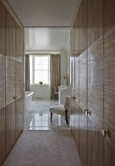 Dressing room leading to bathroom by Todhunter Earle Dressing Room Closet, Dressing Room Design, Dressing Rooms, Dressing Area, Bathroom Inspiration, Interior Inspiration, Interior Design London, Wardrobe Cabinets, London House