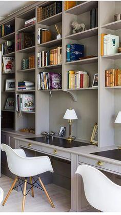 Workspace office in 2019 office decor, décor, elle décor. Home Library Design, Home Office Design, Home Office Decor, House Design, Home Decor, Home Interior, Interior Design, Home Libraries, Built In Bookcase