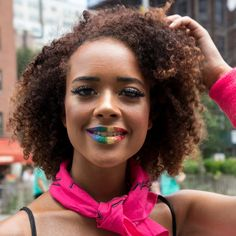 Bright Makeup, Blue Makeup, Hair Makeup, Make Up Looks, Rainbow Dyed Hair, Nyc Pride Parade, Best Flower Delivery, Rainbow Makeup, Bold Brows