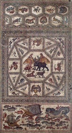 One panel of the Roman Lod Mosaic (circa 4th century AD), which depicts animals, hunting and maritime activity