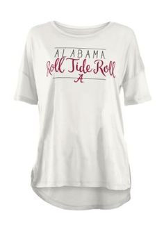 Royce Women's University Of Alabama Hip Script Short Sleeve Tee - White - Xl