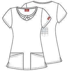Dickies Medical 82827C Filipina Estampada con Cuello Redondo para Mujer