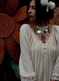 Hippie/Bohemian/Gypsy Bridal Necklace, OOAK Design, Adjustable, Recycled, Romantic Hippie, Vintage Doily, Alternative Bridal Jewelry