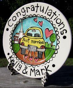 CUSTOM Large 10 Wedding Cake Plate Personalized by artzfolk, $40.00. Thank you so much @nicholeengblom!!*