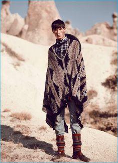 Jester White Goes Western for GQ Turkey Fashion Editorial Rio Grande, Fight With Best Friend, Turkey Culture, Mens Poncho, Gq Australia, Poncho Outfit, Cowboy Outfits, Editorial Fashion, Mens Fashion
