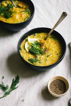 Lots of lemon and dill make this vegan red lentil soup bright and full of flavour. The best lentil soup, perfect for Spring and Summer.