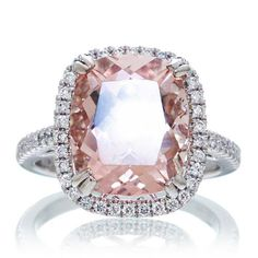 This is it! the ONE!! :) 14K White Gold 12x10 Cushion Cut Morganite Diamond Halo by SAMnSUE, $2000.00