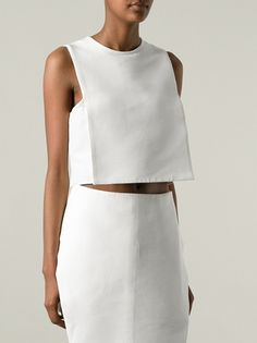 Structured Vest Blouse | J.W. ANDERSON | Material; Cotton 53%, Silk 47% Fashion Sewing, Diy Fashion, Love Fashion, Fashion Outfits, Womens Fashion, Minimal Fashion, White Fashion, Diy Vetement, Looks Style