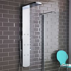 The Hudson Reed Shimmer thermostatic shower panel will add designer style to any bathroom. Featuring a chrome finish to enhance any décor, the Shimmer thermostatic shower panel incorporates an inset shower head with waterfall option, six inset body jet Overhead Shower Head, Shower Panels, Double Basin Vanity Unit, Bathroom Trends, Dream Shower, Shower Tower, Modern Shower, Bathroom Design, Icon Bathroom