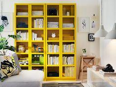 yellow bookshelves